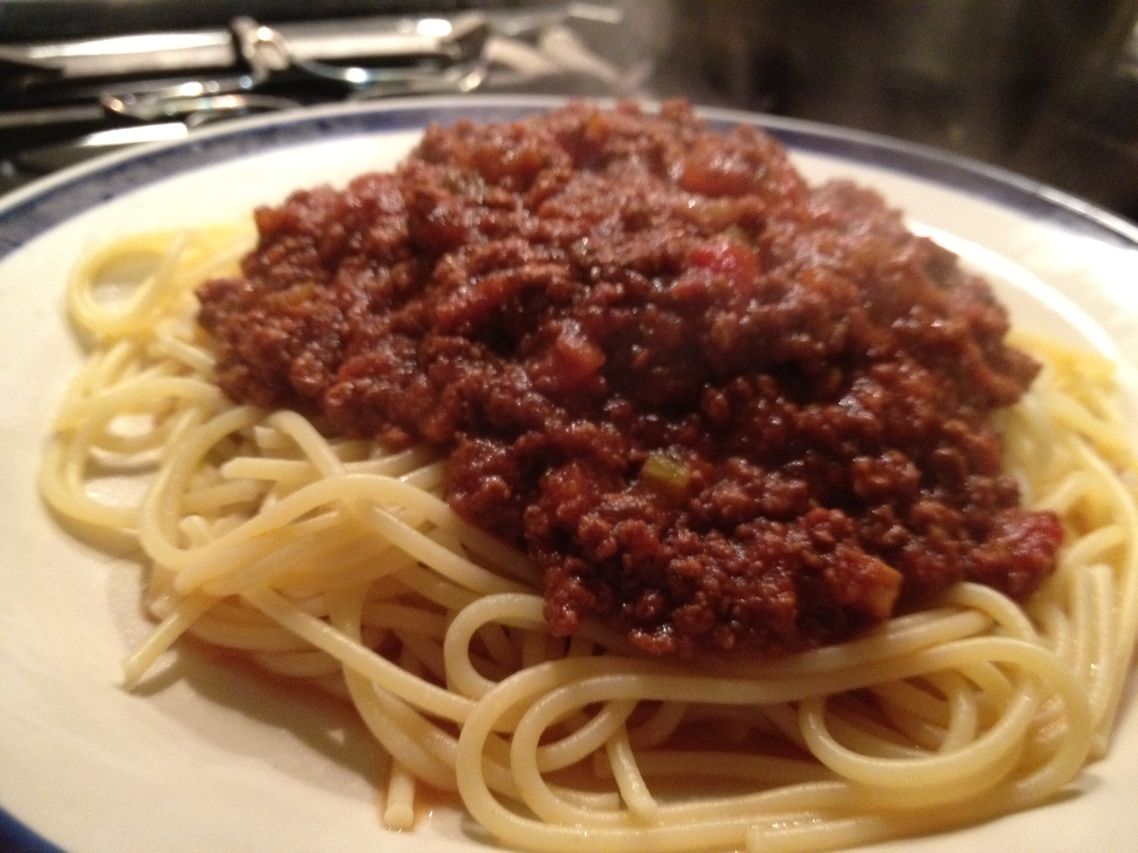 Spaghetti bolognese – a firm favourite in our house. Sorry about the ...