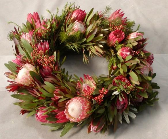 Australian Native Flowers Christmas Wreath by Archara