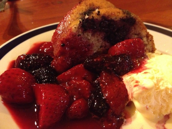 Strawberry and Mulberr eacake with Berry Compote and Icecream