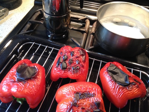 Charred red capsicum (with the remains of my breakfats coffee in the background)