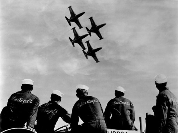 Image of the Blue Angels Support Crew watching a flight formation - Wikimedia Commons