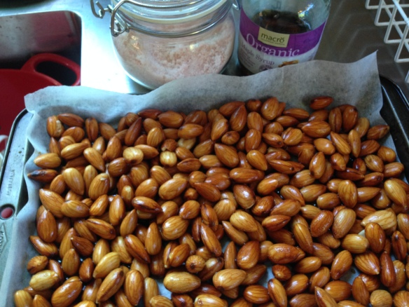 almonds ready to dry