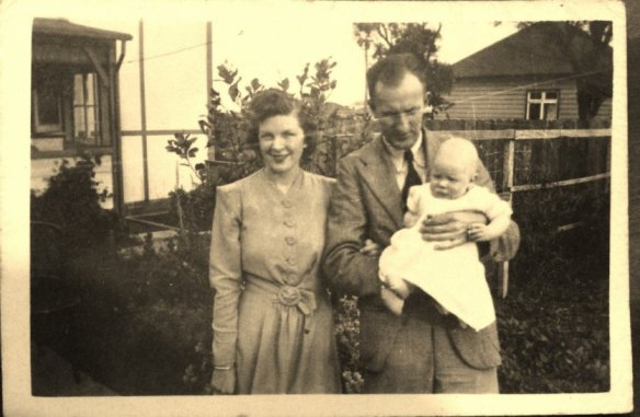 This is my Nana , Pa and Dad just before Pa signed up for World War Two. Pa's mother gave Nana the ginger cake recipe so she would know how to make his favourite cake.