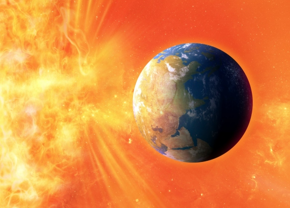 Solar flare hitting Earth, artwork from www.science.howstuffworks.com