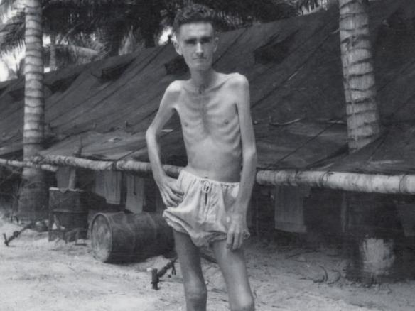 Image of an unnamed Australian Soldier at a WW2 Japanese prisoner-of-war camp. Only five per cent of Australian soldiers survived the prison-of-war camps in Changi, Sandakan and Kuching. www.news.com.au