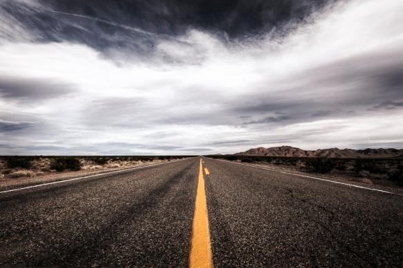 A long road flies ahead into El Dorado Canyon southeast of Las Vegas