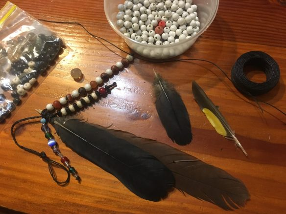 beads, stones and feathers